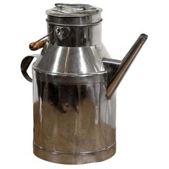 French 19th Century Metal Milk Can with Long Spout and Wooden Handle