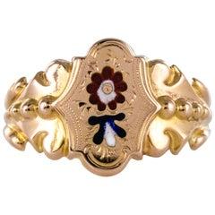 French 19th Century Napoleon 3 Enamelled 18 Karat Rose Gold Unisex Ring