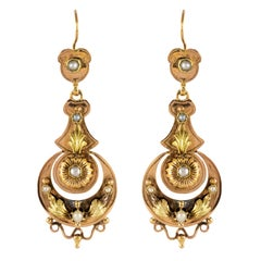 French 19th Century Napoleon 3 Natural Pearl Gold Dangle Earrings