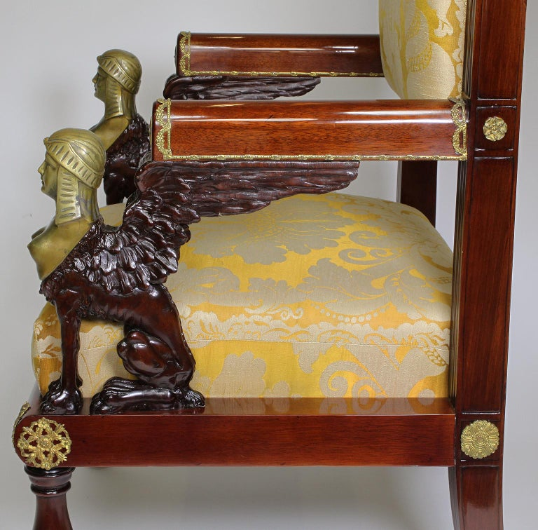French 19th Century Napoleon III Egyptian Revival Bronze Mounted Throne Armchair For Sale 7