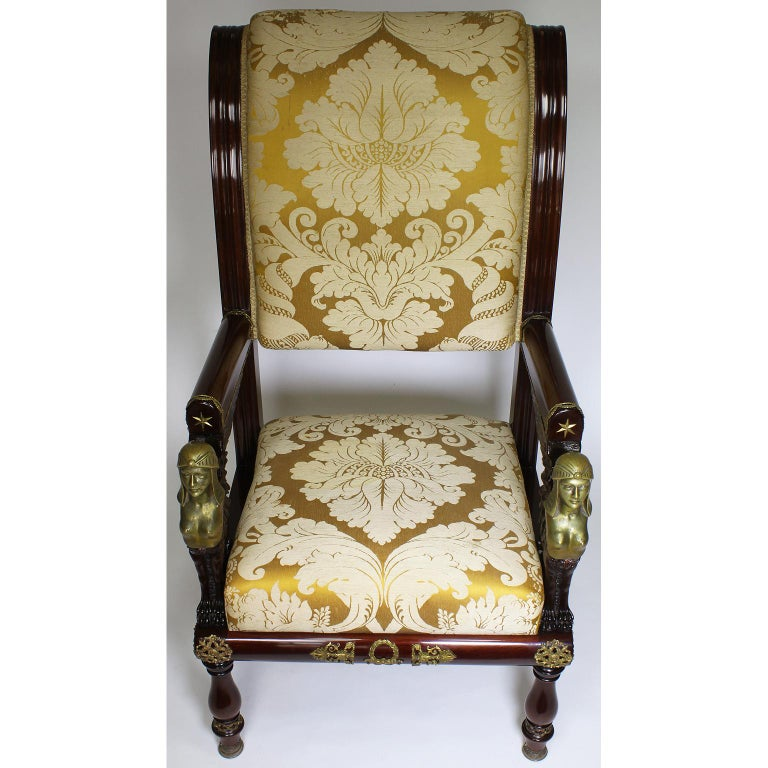 Hand-Carved French 19th Century Napoleon III Egyptian Revival Bronze Mounted Throne Armchair For Sale