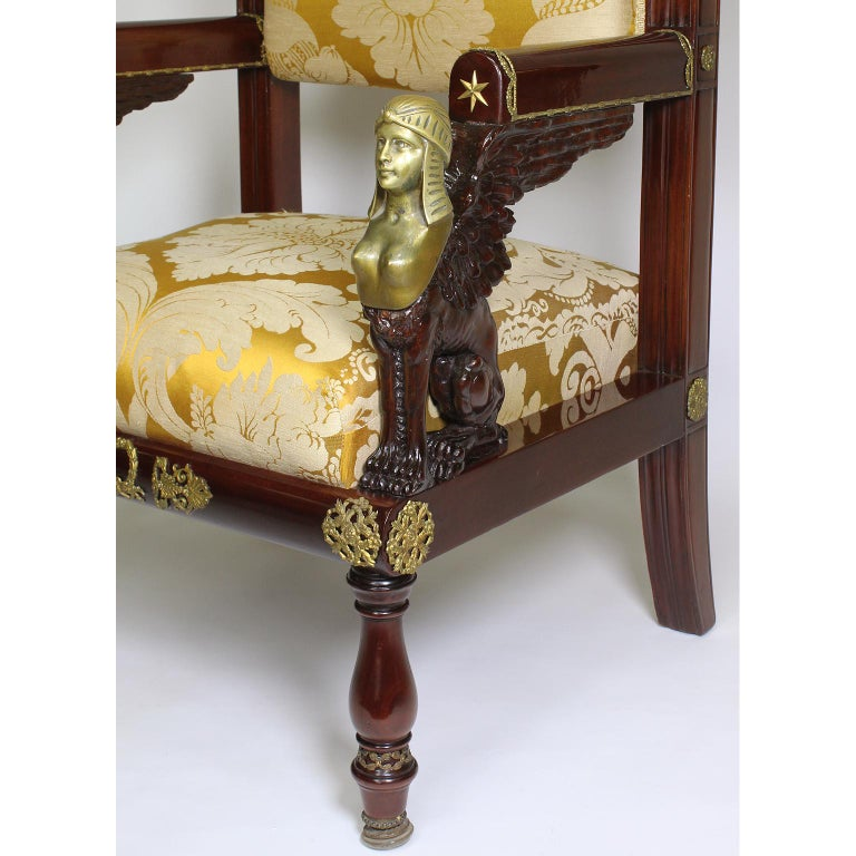 French 19th Century Napoleon III Egyptian Revival Bronze Mounted Throne Armchair For Sale 3