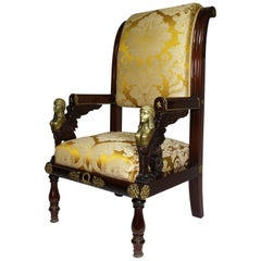 French 19th Century Napoleon III Egyptian Revival Bronze Mounted Throne Armchair