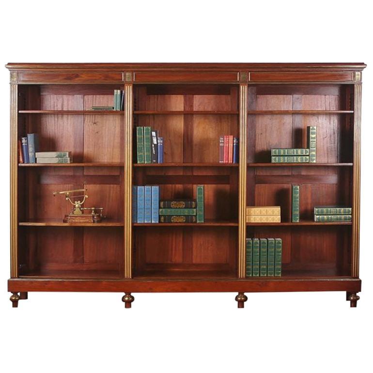 French 19th Century Napoleon III Mahogany Open Bookcase Bibliotheque