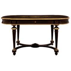 French 19th Century Napoleon III Period Ebony and Brass Inlaid Desk