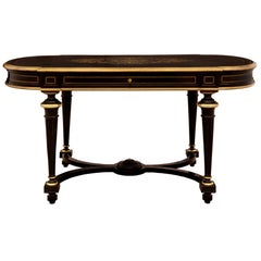 French 19th Century Napoleon III Period Ebony and Brass Inlaid Desk