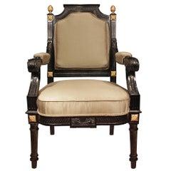 French 19th Century Napoleon III Period Louis XVI St. Armchair