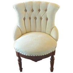 French 19th Century Napoleon III Small Armchair Newly Upholstered