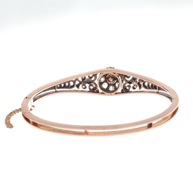 Victorian French 19th Century Natural Peal Diamond Gold Bangle Bracelet For Sale