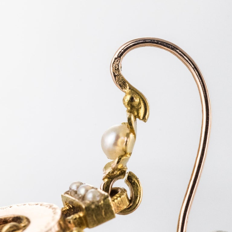 French 19th Century Natural Pearl 18 Karat Rose Gold Dangle Earrings For Sale 4