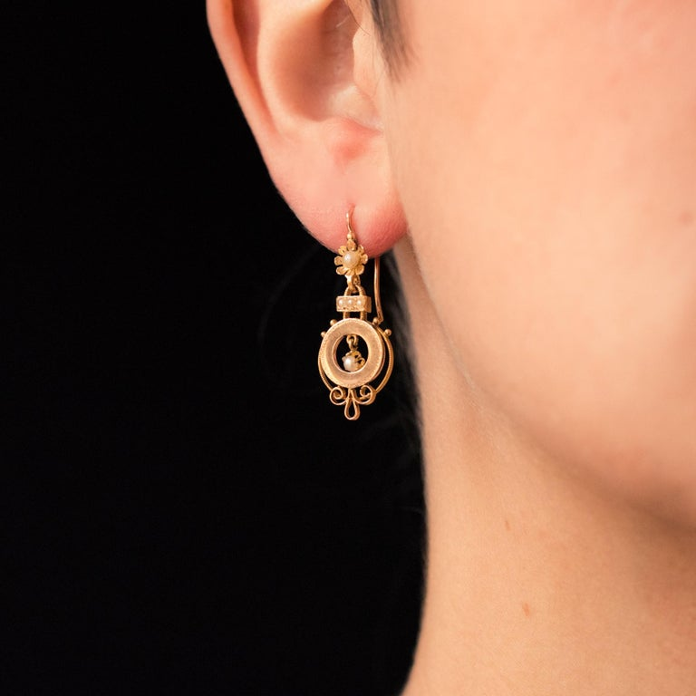 French Cut French 19th Century Natural Pearl 18 Karat Rose Gold Dangle Earrings For Sale