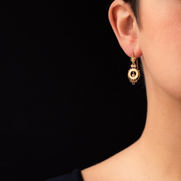 Women's French 19th Century Natural Pearl 18 Karat Rose Gold Dangle Earrings For Sale