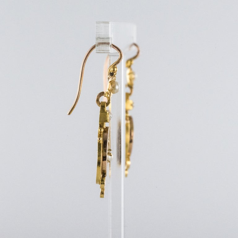 French 19th Century Natural Pearl 18 Karat Rose Gold Dangle Earrings For Sale 2