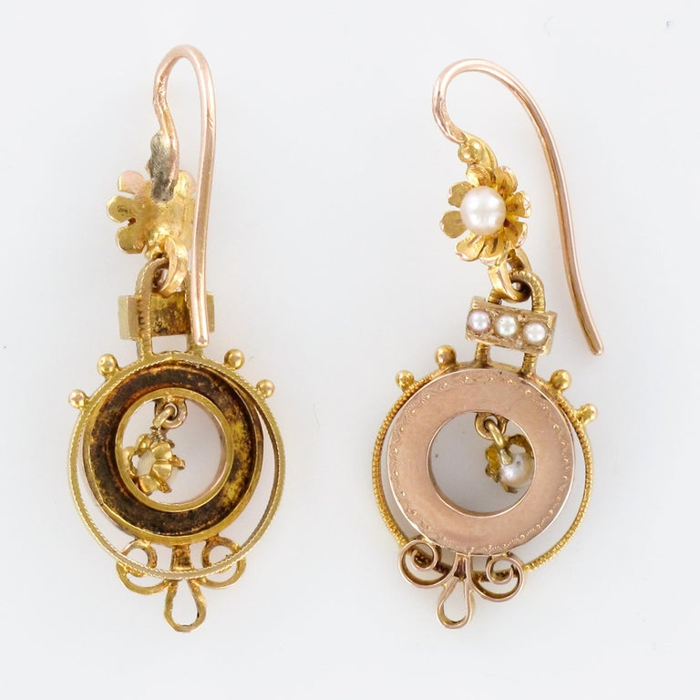 French 19th Century Natural Pearl 18 Karat Rose Gold Dangle Earrings For Sale 3