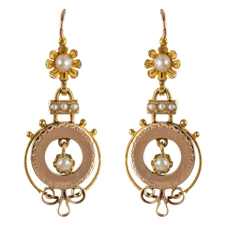 French 19th Century Natural Pearl 18 Karat Rose Gold Dangle Earrings For Sale