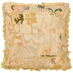 French 19th Century Needlepoint Tapestry Pillow Depicting a Man Courting a Woman