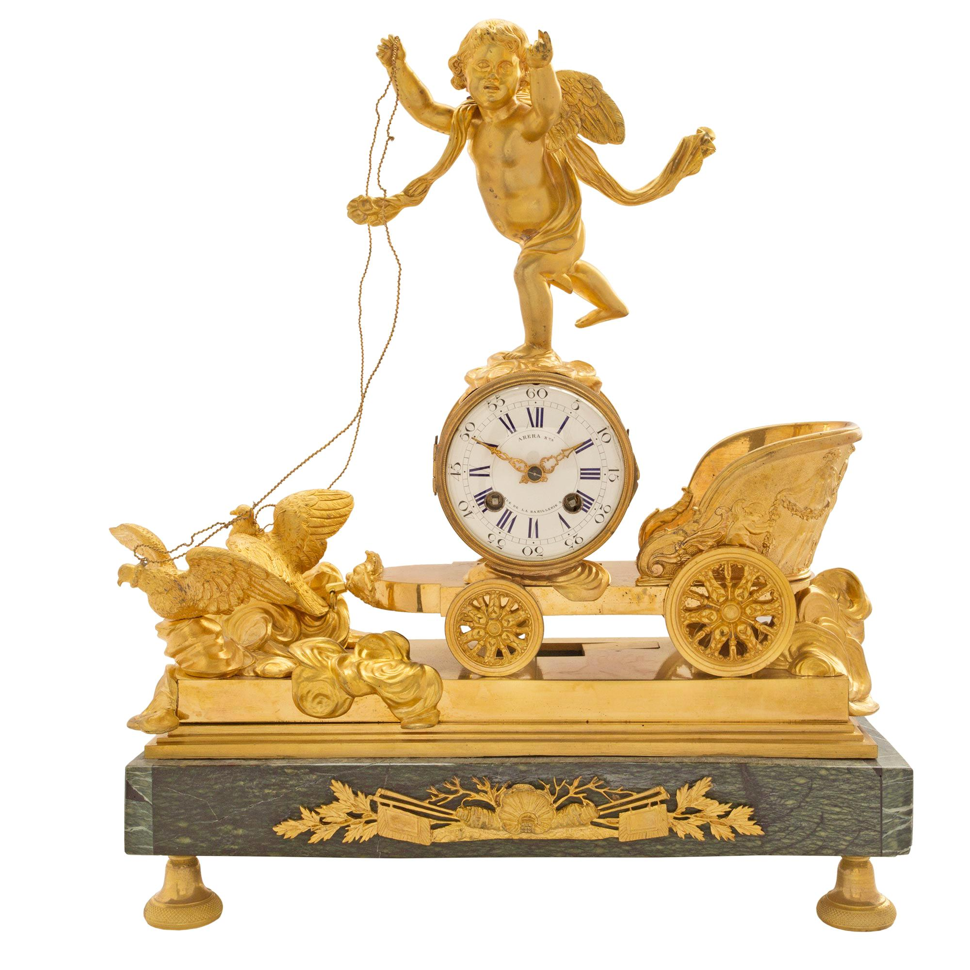 French 19th Century Neo-Classical Empire Style Ormolu and Marble Clock