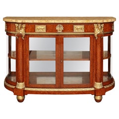 French 19th Century Neoclassical Style Burl Walnut and Ormolu Buffet Vitrine