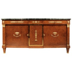 French 19th Century Neoclassical Style Burl Walnut and Ormolu Mounted Buffet