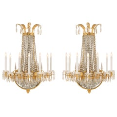 French 19th Century Neoclassical St. Ormolu And Crystal Sconces Signed Baccarat