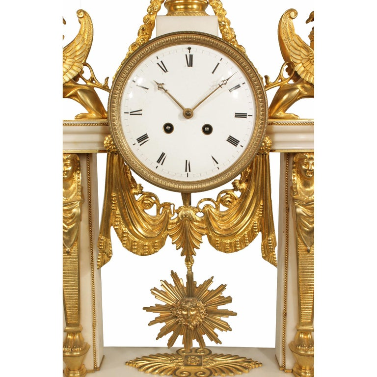 French 19th Century Neoclassical Style Ormolu and Marble Clock In Excellent Condition For Sale In West Palm Beach, FL