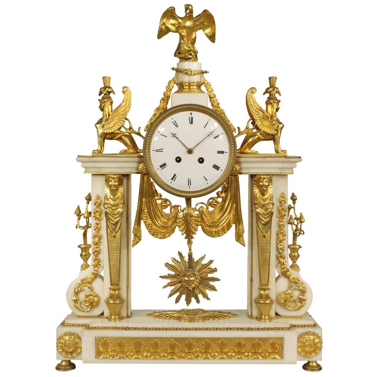 French 19th Century Neoclassical Style Ormolu and Marble Clock For Sale