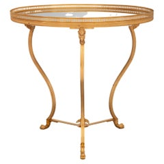 French 19th Century Neo-Classical St. Ormolu and Mirrored Gueridon Side Table