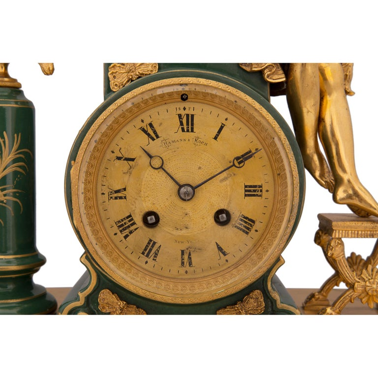 French 19th Century Neoclassical Style Porcelain and Ormolu Clock For Sale 3