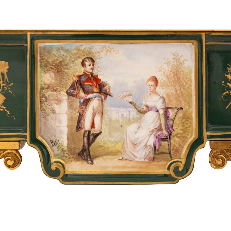 French 19th Century Neoclassical Style Porcelain and Ormolu Clock For Sale 4