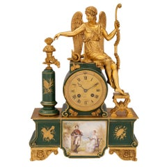 French 19th Century Neoclassical Style Porcelain and Ormolu Clock
