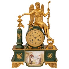 French 19th Century Neo-Classical Style Porcelain and Ormolu Clock