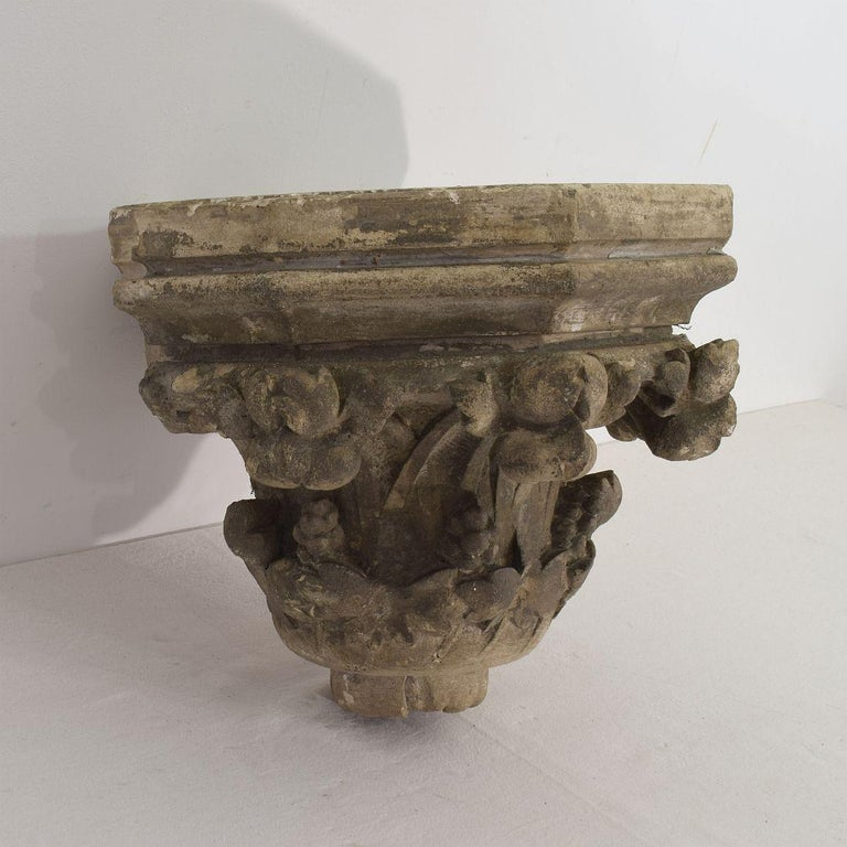 Beautiful carved stone wall console in neo Gothic floral style,