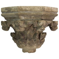 French 19th Century Neo Gothic Carved Stone Wall Console