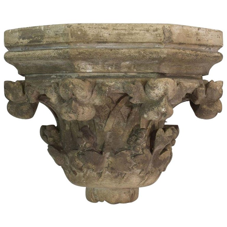French 19th Century Neo Gothic Carved Stone Wall Console For Sale