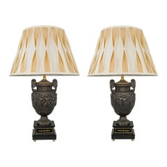 French 19th Century Neo-Greek St. Patinated Bronze and Gilt Lamps