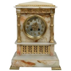 French 19th Century Neoclassical Alabaster and Bronze Gilt Mantel Clock