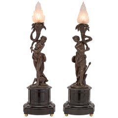 French 19th Century Neoclassical Bronze and Black Belgian Marble Lamps