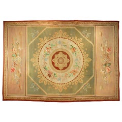 French 19th Century Neoclassical Empire Style Aubusson Antique Woven Wool Carpet