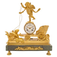 French 19th Century Neoclassical Empire Style Ormolu and Marble Clock