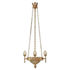 French 19th Century Neoclassical St. Alabaster and Ormolu Chandelier