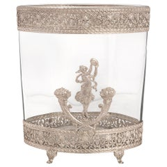 French 19th Century Neoclassical St. Silvered Bronze and Glass Vase