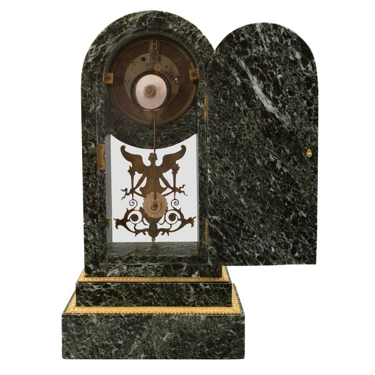 French 19th Century Neoclassical St. Vert Patricia Marble and Ormolu Clock For Sale 2