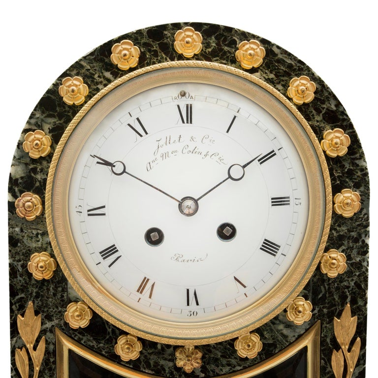 French 19th Century Neoclassical St. Vert Patricia Marble and Ormolu Clock For Sale 3