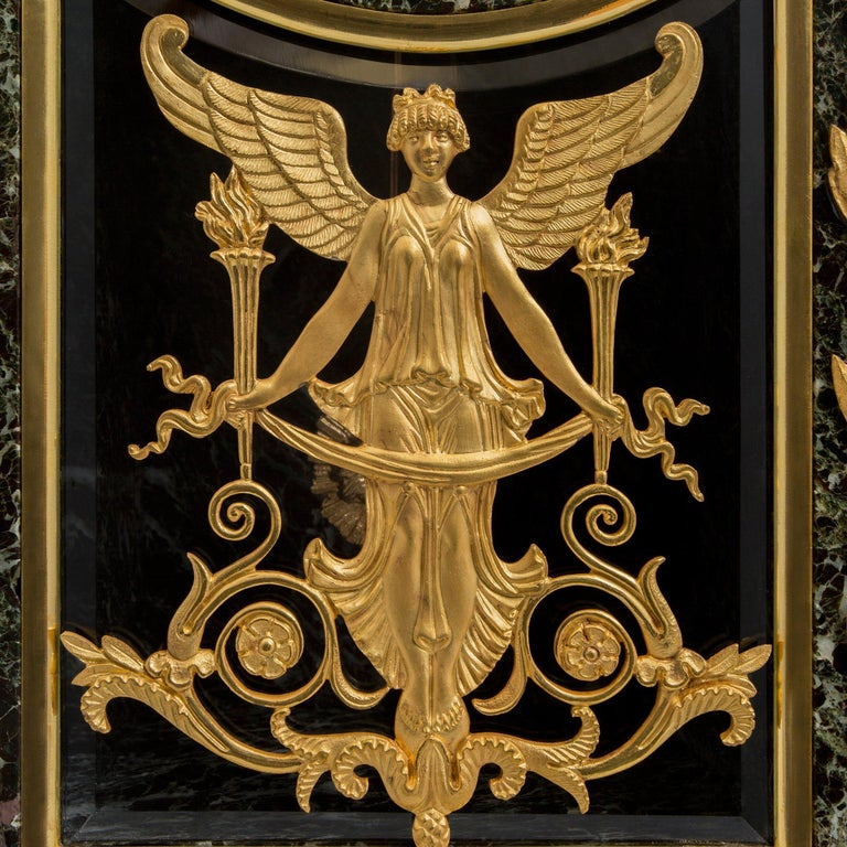 French 19th Century Neoclassical St. Vert Patricia Marble and Ormolu Clock For Sale 5