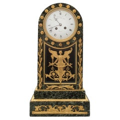 French 19th Century Neoclassical St. Vert Patricia Marble and Ormolu Clock