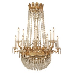 French 19th Century Neoclassical Style Crystal and Ormolu Chandelier
