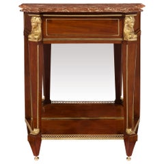French 19th Century Neoclassical Style Mahogany, Ormolu and Marble Console