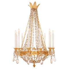 French 19th Century Neoclassical Style Ormolu and Baccarat Crystal Chandelier