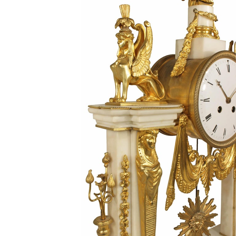 French 19th Century Neoclassical Style Ormolu and Marble Clock For Sale 2