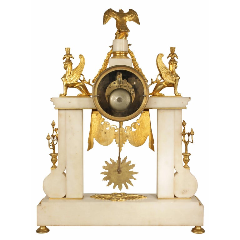 French 19th Century Neoclassical Style Ormolu and Marble Clock For Sale 3